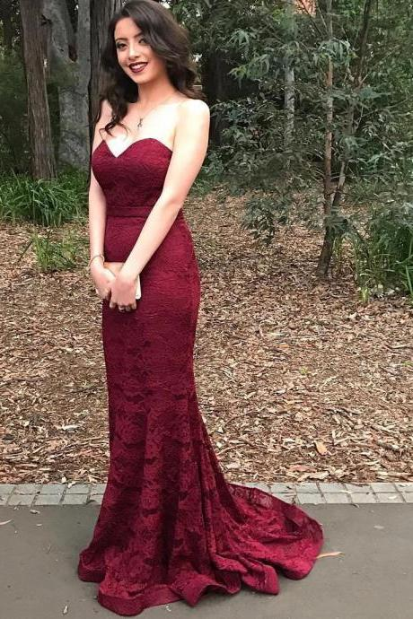 Burgundy Mermaid Lace Long Prom Dresses,Charming Off-The-Shoulder Strapless Evening Dresses,Party Dresses.ST1160
