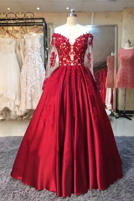 Burgundy Long Sleeve Long Prom Dresses,Red Lace Appliques Prom Dress,Evening Dresses.R1161