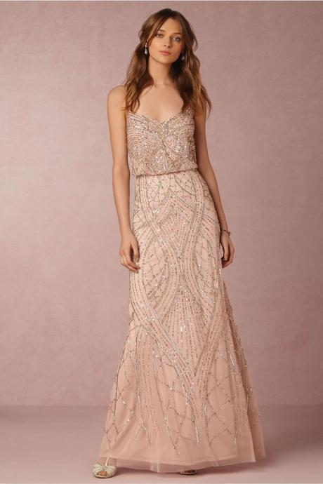 Charming beading prom dress,sexy spaghetti straps long evening dress,shining long pretty party dress.P1165