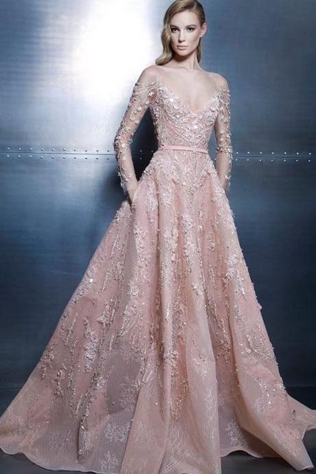 Stunning A-line Appliques Evening Dresses,Sexy Off-The-Shoulder Prom Dresses,Long Sleeves beading Prom Dresses.LS1166
