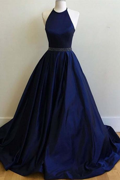 Charming Halter Satin Prom Dress,Simple A-line Sleeveless Graduation Party Dresses,Evening Dresses For Teens.P1168