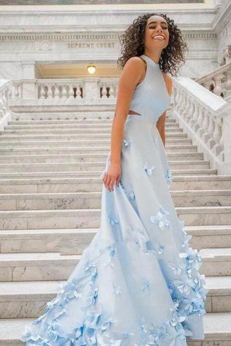 Two Piece Flowers Appliques Homecoming Dresses,Light Sky Blue Prom Dresses,Charming Sleeveless Halter Prom Dresses.TP1170