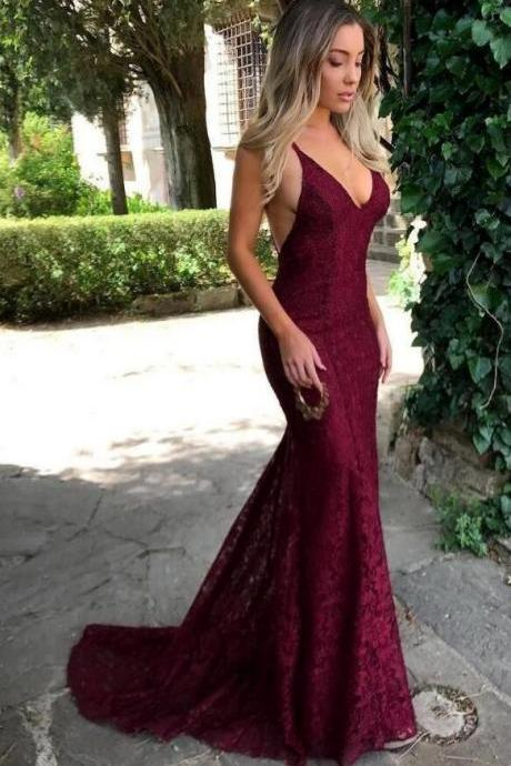 Mermaid Spaghetti Straps Prom Dresses,Sexy Red Lace Backless Prom Dresses, Formal Evening Dresses.R1173