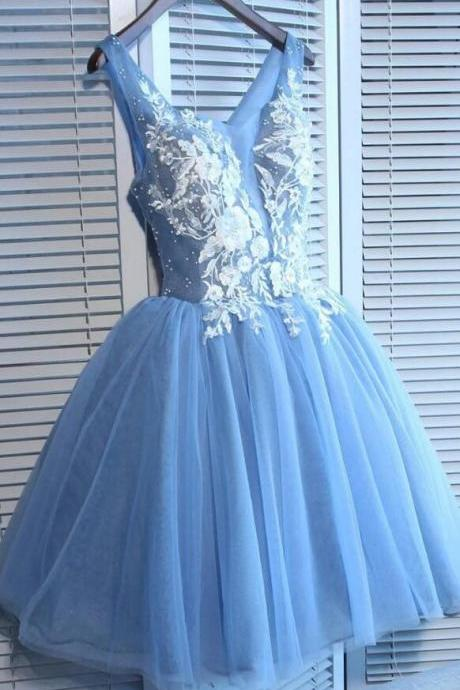Blue Tulle A Line Homecoming Dresses,Sleeveless Lace Appliques Short Homecoming Dresses.MN1177