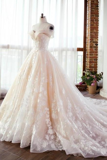 Champagne A-Line Appliques Ball Gown,Charming Off-The-Shoulder Beading Wedding Dress.W1179