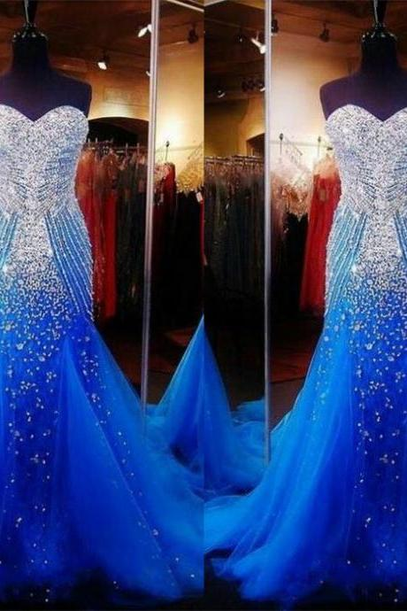 Royal Blue Beading Long Prom Dresses,Charming Sweep Train Prom Dresses,Sweetheart Prom Gowns,Evening Dresses.ST1189