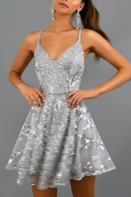 Sparkly Short Silver Sequins Homecoming Dresses.Spaghetti Straps Mini Party Dresses.PH1205