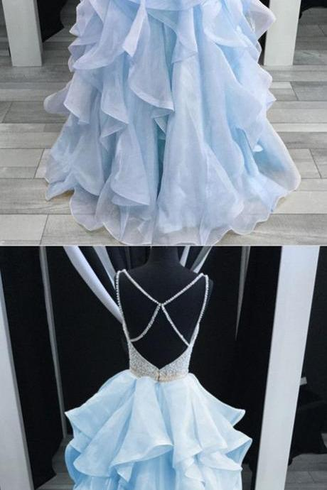 Charming Light Blue Layered Long Prom Dress,Luxury Bead Party Dress,Spaghetti Straps Cross-Back Prom Dress.P1206