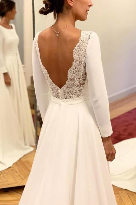 A-Line Round Neck Satin Wedding Dress,Sexy Open Back Lace Long Sleeves Sweep Train Bridal Gown.W1209