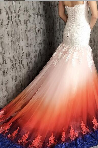 Charming Mermaid Scoop Open Back Wedding Dresses,Sweep Train Wedding Dress with Appliques Beading.W1214