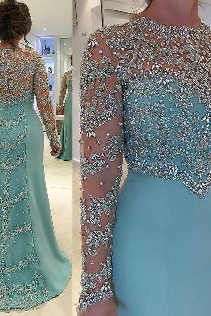 Light Blue Plus Size Mother Of The Prom Dresses, Elegant Beaded Long Sleeves Evening Dresses.LS1217