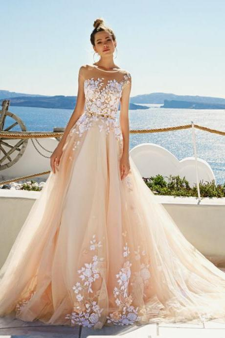 Sleeveless Tulle Wedding Dresses,Charming Lace Appliques Bridal Dresses,Romantic O-neck Bridal Dresses.W1229