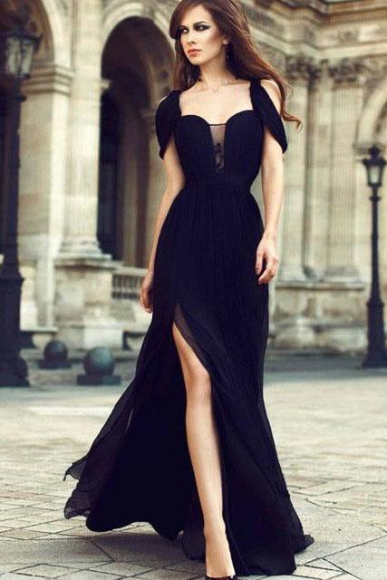 Black Chiffon Formal Prom Dress,Off Shoulder Sweetheart High Slit Formal Evening Dresses,Party Gowns.F1236