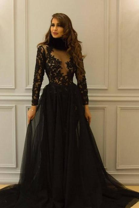 Gorgeous Black Lace Long Sleeves Prom Dresses,Round Neck Detachable Sweep Train High Quality Custom Evening Dresses.LS1241
