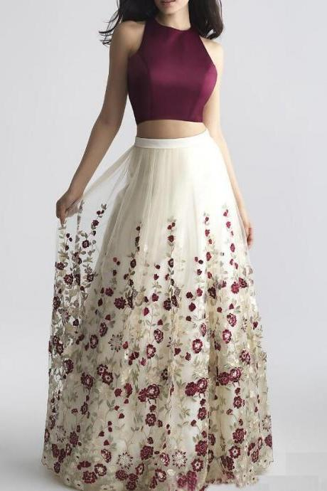 Charming Two-Piece Prom Dresses,A-Line Prom Dresses with Embroidery,Burgundy Sleeveless Prom Gowns.TP1248