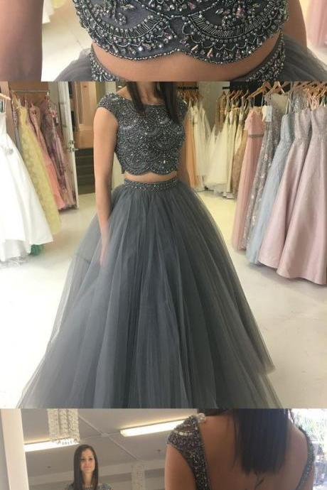Two piece prom dresses,grey sleeveless long prom dresses, party dresses,elegant beading evening dresses.TP1251