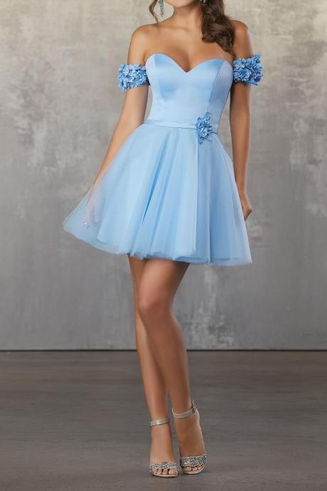 Light Blue Tulle Appliques Off-the-shoulder Homecoming Dresses,A-line Short Length Sweetheart Homecoming Dresses.PH1256