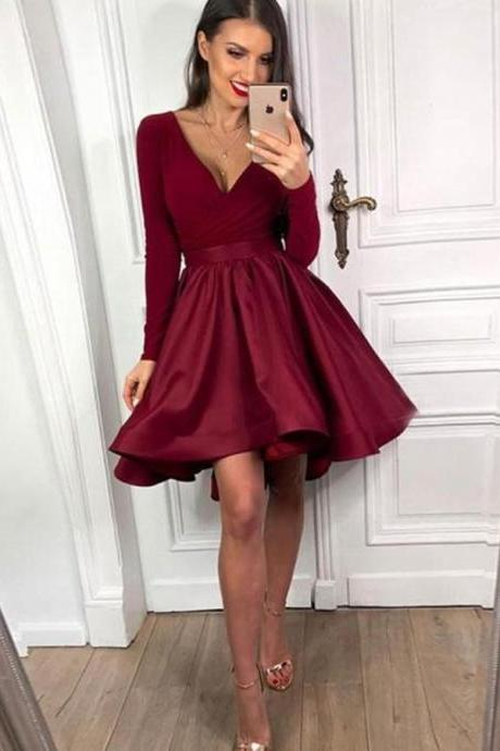 Red Long Sleeves V-Neck Homecoming Dresses,Satin Short Burgundy Graduation Dresses.PH1257