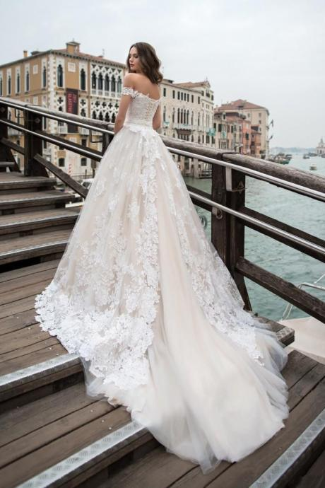 Romantic White Lace Wedding Dress,Off-The-Shoulder A-Line Bridal Dress,Long Train Wedding Gown.W1259