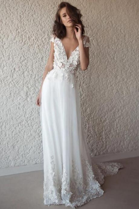Charming A-Line V-Neck Wedding Dresses,Appliques Backless Sleeveless Tulle Wedding Dresses.W1261