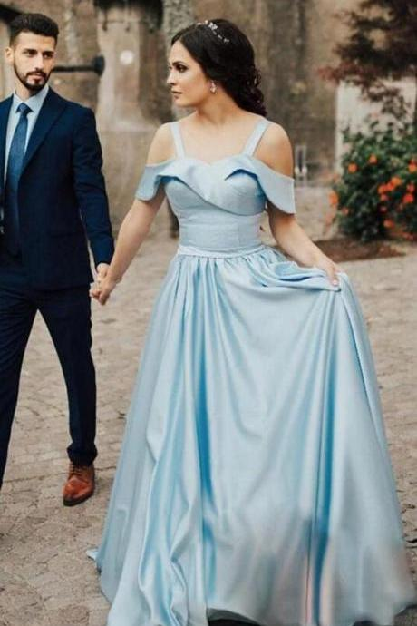Satin Light Blue Prom Gowns,Folded Neckline Sweetheart Long Prom Dresses.P1270