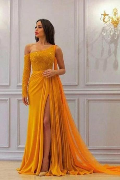 Special A-Line Yellow One Long Sleeve Prom Dresses,Charming Chiffon High Slit Formal Dresses.P1272