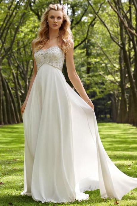 Beading A-line Bridal Dresses,Strapless Sweetheart Wedding Gowns,White Chiffon Bridal Dresses.W1274