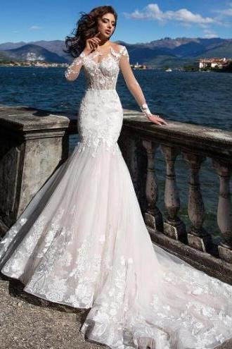 Long sleeve lace wedding dress,elegant hip wrap fishtail skirt,white tuxedo handmade gown customized.W1275