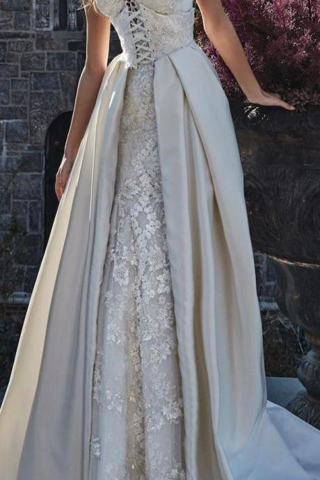 Elegant Satin Champagne Wedding Dresses,Strapless Sweetheart Bridal Gowns,Charming Wedding Dresses.W1280
