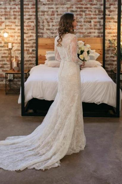 Simple Bohemian Wedding Dresses,Crew Neck Sheer Long Sleeve Delicate Lace Pearls Bridal Gowns.W1301