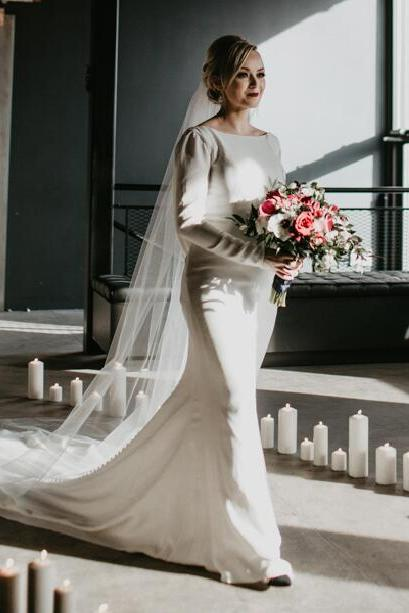 Simple Mermaid Bohemian Wedding Dresses,Crew Neck Long Sleeve Covered Button Backless Bridal Gowns.W1302