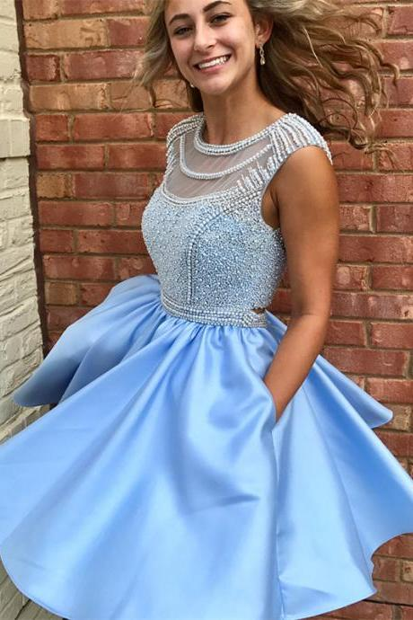 Cute Light Blue Satin Homecoming Dress with Beaded,Sleeveless Short Prom Dresses with Pockets.PH1309