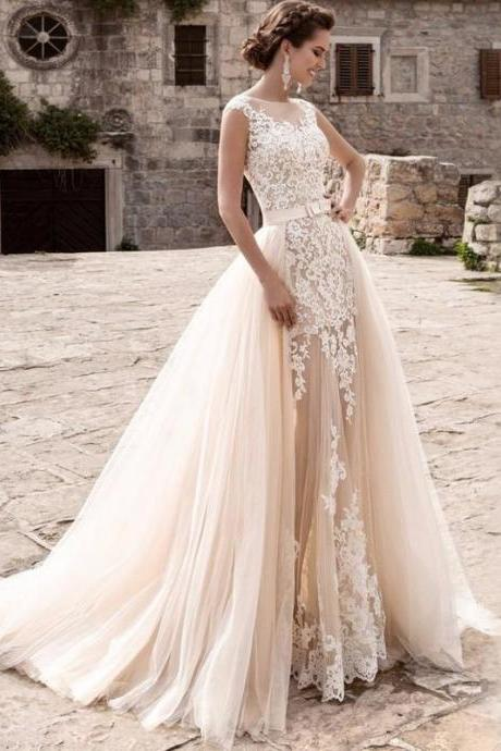 Charming Mermaid Bridal Gown with Detachable Skirt,Lace Sleeveless Wedding Dress.W1310