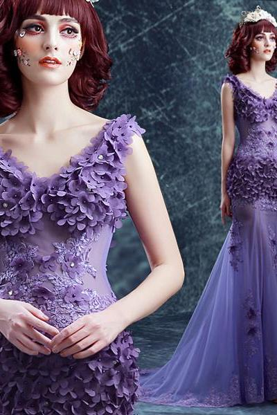 Purple Lace Flower Fishtail Formal Evening Dress,V-neck Slim Sexy Perspective Mermaid Long Prom Dress.F1328