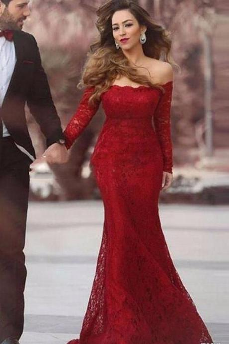 Red Lace Mermaid Sweep Train Prom Dresses,Charming Off-The-Shoulder Evening Gowns with Long Sleeves.R1335