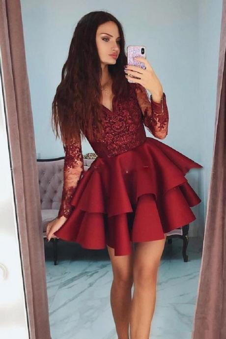 Charming Red Short Prom Dresses,Lace Long Sleeves Homecoming Dresses, V Neck Homecoming Dresses.PH1360