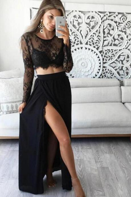 Stunning Two Piece Long Sleeves Party Dresses,Black Prom Dresses with Lace Top,Sexy Side Slit Prom Dresses.TP1368