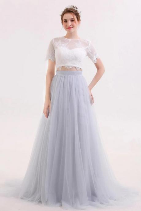 Two Piece V Neck Short Sleeves Prom Dresses,Gray Tulle Sweep Train Evening Dresses.TP1384