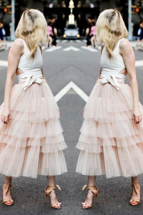 Two Pieces Blush Homecoming Dresses,Casual White Sleeveless Dresses,Layered Tulle Homecoming Dresses.TP1426