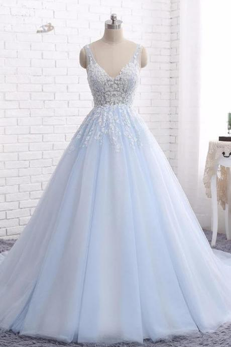 Chapel Train Tulle Ball Gown,V Neck Sleeveless Backless Appliques Prom Dresses,Party Dresses.P1433