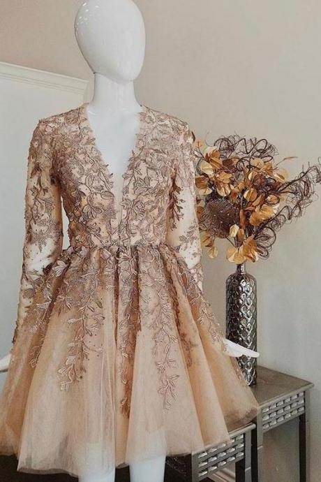 Champagne Long Sleeves Applique Homecoming Dresses,V-Neck A-Line Party Dresses,Short Lace Prom Dresses.PH1435