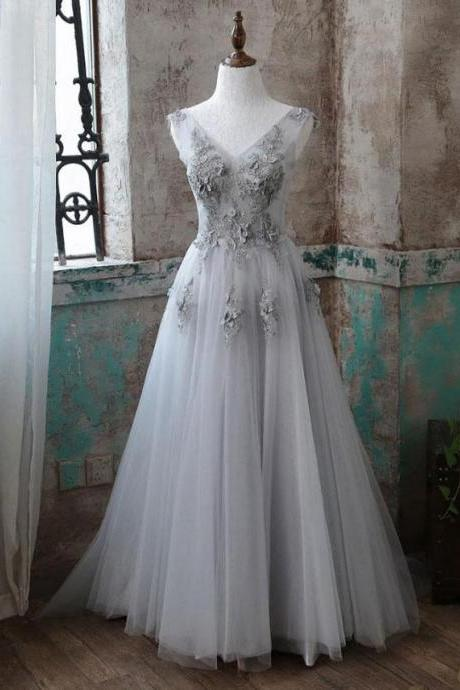 Grey V-Neck Tulle Applique Long Formal Prom Dresses,Elegant Sweep Train Evening Dresses.F1440