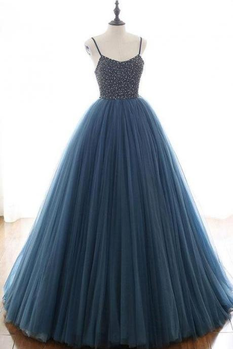 Charming Tulle Spaghetti Straps Beaded Sequins Formal Prom Dresses,Elegant Lace up Evening Formal Dresses.F1441