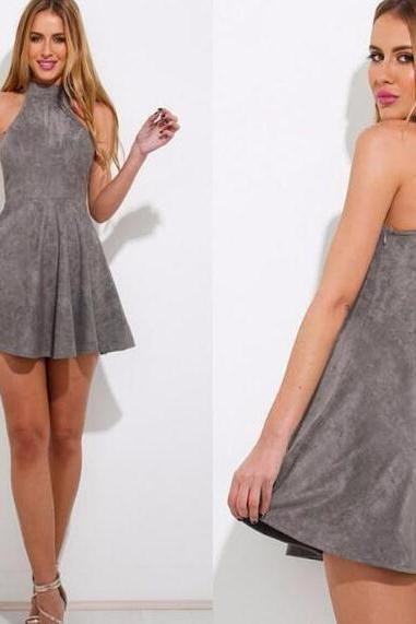 High Neck Grey Homecoming Dress,Suede Lace up Back Graduation Dress,Short A Line Prom Dress.MN1444