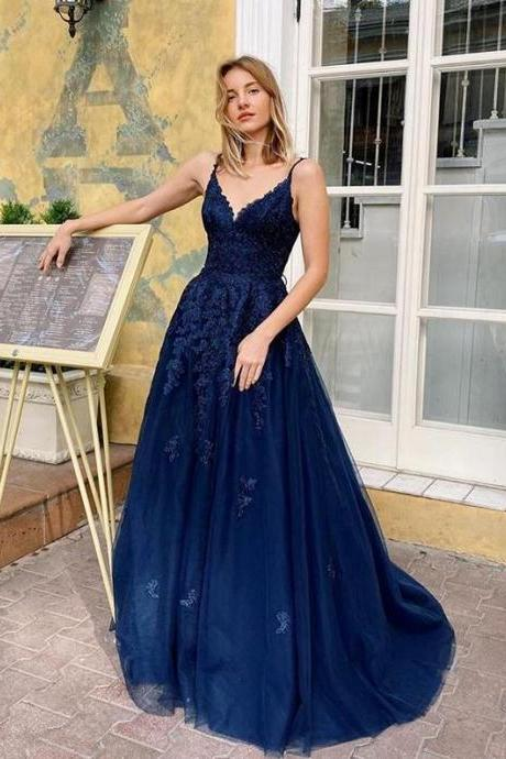 Charming Navy Blue V Neck Lace Tulle Formal Prom Dress,Spaghetti Straps A Line Evening Dress,Formal Dress.F1445