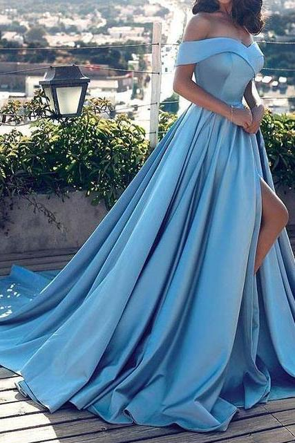 Sexy Light Blue Off-The-Shoulder Long Formal Prom Dresses,Charming Side Slit Evening Gowns.F1446