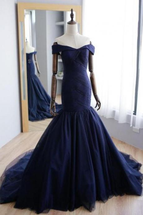 Mermaid Navy Blue Off Shoulder Formal Prom Dresses,Sweep Train Tulle Formal Evening Dresses.F1447