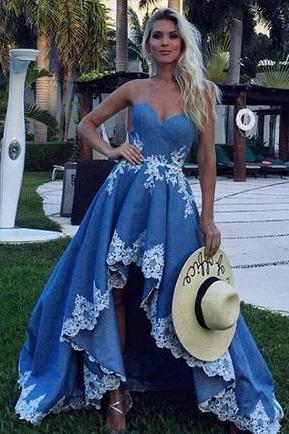 Charming sweetheart high low appliques homecoming dress,blue strapless prom dress.HL1450