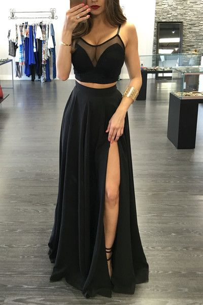 Sexy Two Piece Spaghetti Straps Prom Dresses,A-line Black Chiffon High Slit Long Prom Dresses,Party Dresses.TP1451
