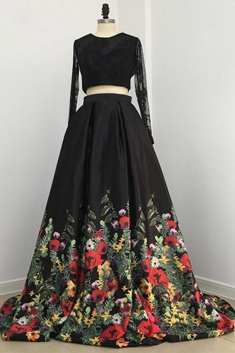 Two Piece Prom Dress,Black Floral Long Prom Dress, Long Sleeves Prom Dress.TP1466